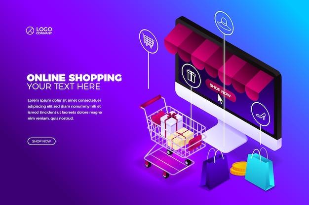 Koncepcja zakupów online z komputerem