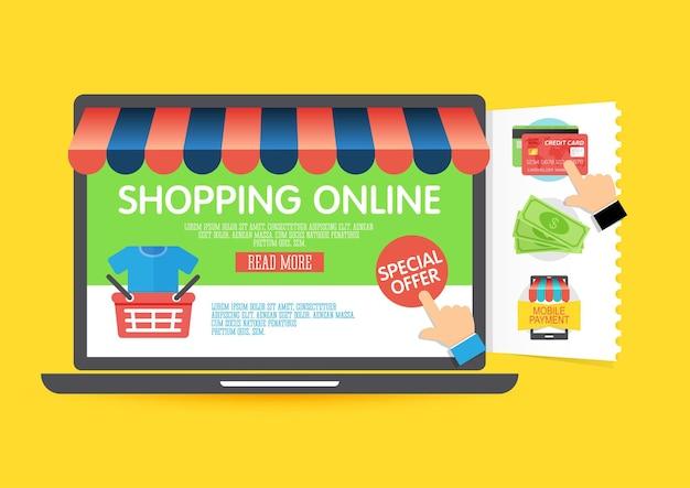 Koncepcja zakupów online z laptopem i ikonami