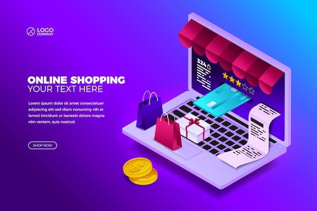 Koncepcja zakupów online z laptopem