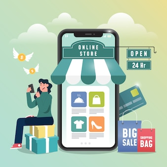 Koncepcja zakupów online z ludźmi i telefonami komórkowymi.