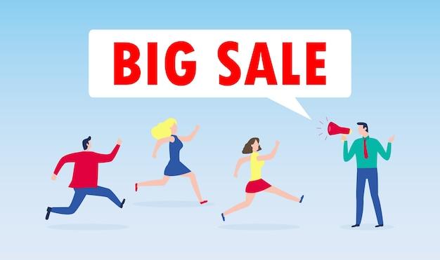 Koncepcja zakupów w czarny piątek, człowiek trzymaj megafon z ludźmi biegnącymi do sklepu w sprzedaży, plakat reklamowy baner duży rabat promocyjny wydarzenie na białym tle na tle