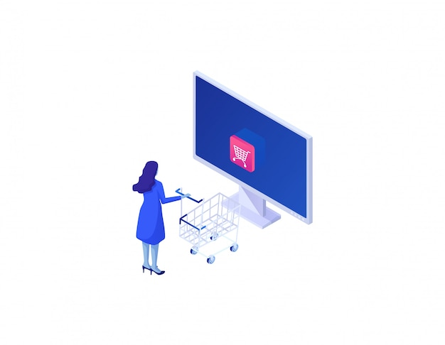 Koncepcja zakupu sklep internetowy izometryczny. internetowe zamawianie towarów przez internet bezpieczne dane bezpieczne płatności.