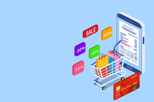 Koncepcja zakupy online izometryczny inteligentny telefon. sklep internetowy, ikona koszyka na zakupy. handel elektroniczny. ilustracja wektorowa w stylu płaski