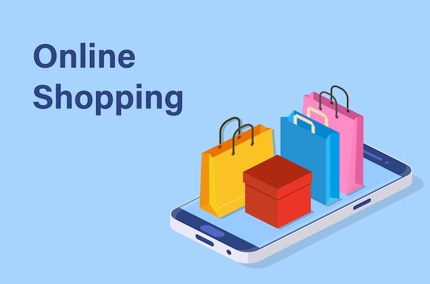 Koncepcja zakupy online izometryczny inteligentny telefon.