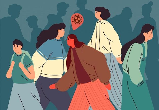 Koncepcja zanieczyszczenia wirusem. zarażona osoba spacerująca wśród zdrowych ludzi. tłum nastolatków podczas epidemii. pandemia koronawirusa. zakażenie ilustracja w stylu płaski