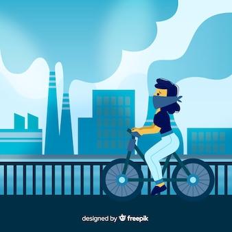 Koncepcja zanieczyszczenia z ludźmi przed elektrownią