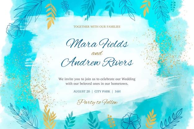 Koncepcja zaproszenia ślubne akwarela