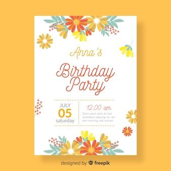 Koncepcja zaproszenie na urodziny kwiatowy