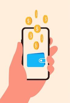 Koncepcja zarabiania online z telefonu. złote monety spadają do portfela internetowego na ekranie smartfona