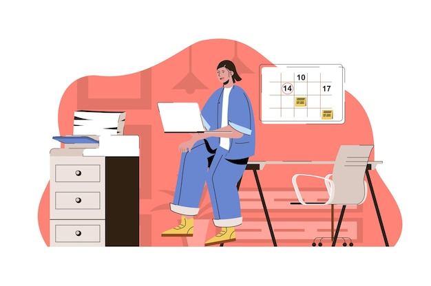 Koncepcja zarządzania biurem kobieta planuje przepływ pracy utrzymuje warunki pracy