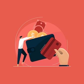 Koncepcja zarządzania budżetem i finansami w wektorze izometrycznym, portfel z ilustracją pieniędzy i karty kredytowej