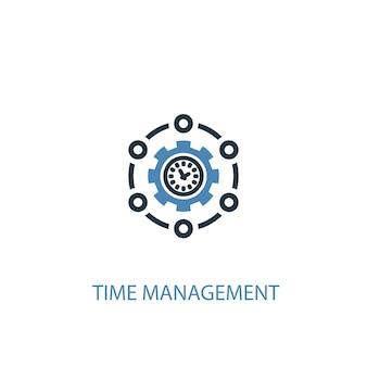 Koncepcja zarządzania czasem 2 kolorowa ikona. prosta ilustracja niebieski element. projekt symbol koncepcji zarządzania czasem. może być używany do internetowego i mobilnego interfejsu użytkownika/ux