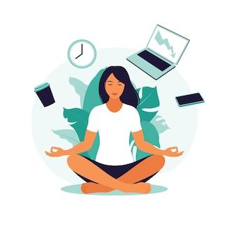 Koncepcja zarządzania czasem. biznes kobieta praktykuje medytację i jogę z biurowymi ikonami w tle. ilustracja wektorowa. mieszkanie.