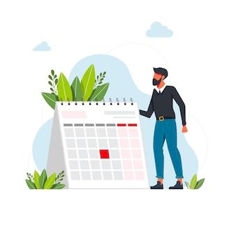 Koncepcja zarządzania czasem i terminem. biznesmen planowania wydarzeń, terminów i porządku obrad. kalendarz, harmonogram, ilustracja wektorowa płaski proces organizacji. koncepcja zarządzania czasem dla banera