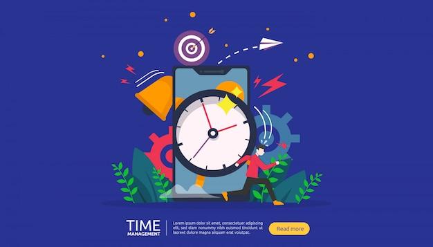 Koncepcja zarządzania czasem i zwlekaniem. planowanie i strategia dla banerów biznesowych
