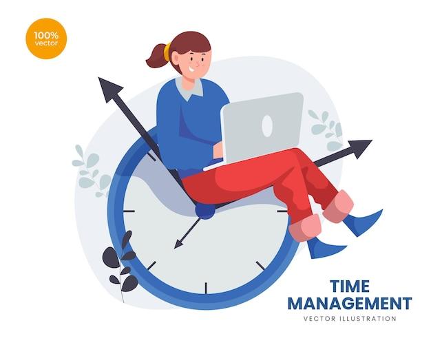 Koncepcja zarządzania czasem ilustracja z dziewczyną lub kobietą biznesu pracy z laptopem powyżej zegara.