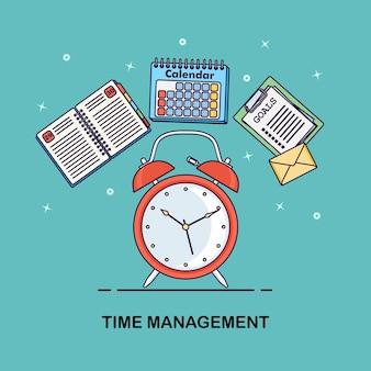 Koncepcja zarządzania czasem. planowanie, organizacja dnia pracy. budzik, pamiętnik, kalendarz, lista rzeczy do zrobienia na białym tle