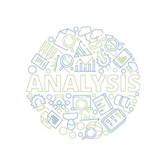 Koncepcja zarządzania danymi. symbole analizy danych w kształcie koła