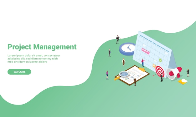 Koncepcja zarządzania projektem dla strony docelowej lub banera szablonu strony internetowej w stylu izometrycznym