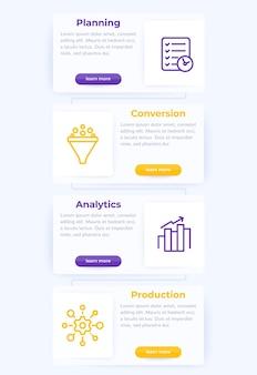 Koncepcja zarządzania projektem z ikonami linii