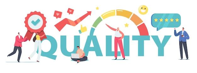 Koncepcja zarządzania rozwiązaniem wydajności pracy. małe postacie biznesowe w ogromnej skali zwiększają poziom jakości, zadowoleni klienci oceniają plakat ulotka banerowa. ilustracja wektorowa kreskówka ludzie