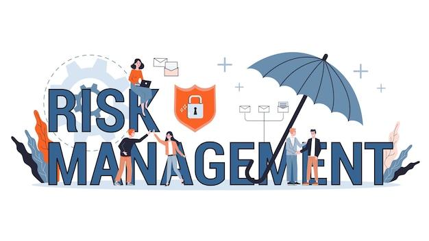 Koncepcja zarządzania ryzykiem. idea strategii biznesowej i zabezpieczenia finansowego. bezpieczeństwo pieniędzy. ilustracja, baner internetowy