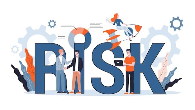 Koncepcja zarządzania ryzykiem. idea strategii biznesowej i zabezpieczenia finansowego. bezpieczeństwo pieniędzy. ilustracja