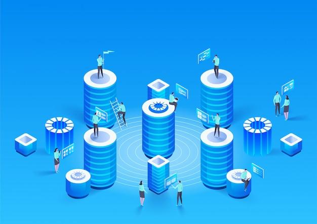Koncepcja zarządzania siecią danych. wektor izometryczny