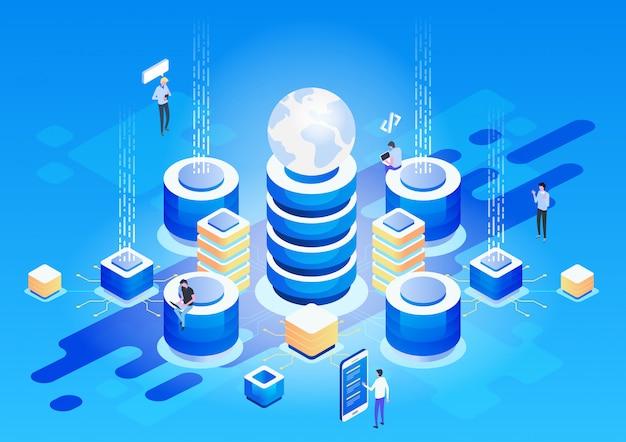 Koncepcja Zarządzania Siecią Danych. Wektor Izometryczny Premium Wektorów