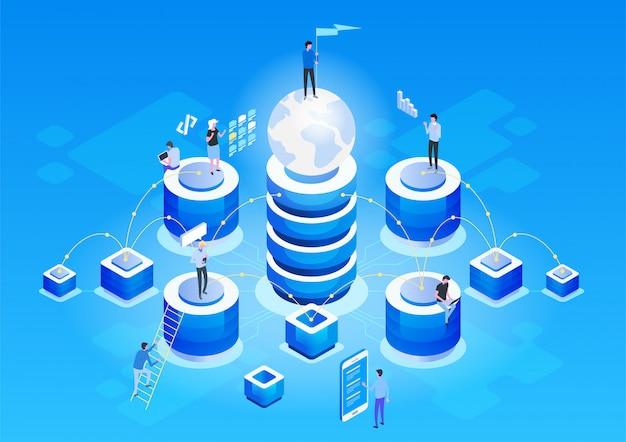 Koncepcja Zarządzania Siecią Danych Premium Wektorów
