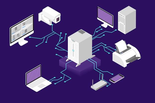 Koncepcja zarządzania siecią. serwer komputerowy i baza danych w chmurze. komunikacja bezprzewodowa między urządzeniem. ilustracja izometryczna