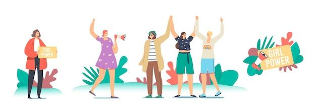 Koncepcja zasilania dziewczyna. postacie kobiece w demonstracji na rzecz praw kobiet. młode dziewczyny z rękami do góry, feminizm i kobiecość, idea wzmocnienia pozycji kobiety, poczucie wspólnoty. ilustracja wektorowa kreskówka ludzie