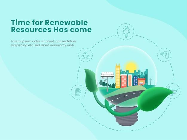 Koncepcja zasobów energii odnawialnej z eco green city wewnątrz żarówki na niebieskim tle.