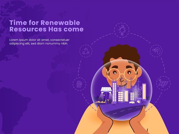 Koncepcja zasobów energii odnawialnej z młodym człowiekiem posiadającym eco city globe na fioletowym tle.