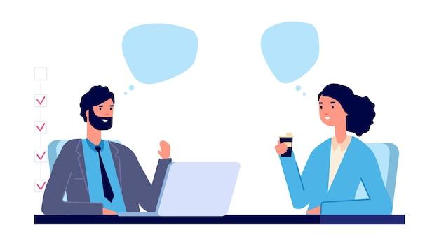 Koncepcja zatrudnienia. ilustracja wektorowa wywiad biznesowy. płaskie biznesowe postacie męskie i żeńskie. mężczyzna i kobieta rozmawiają w pracy. pracownik zatrudniający postać pracownika, ilustracja działu rekrutacji