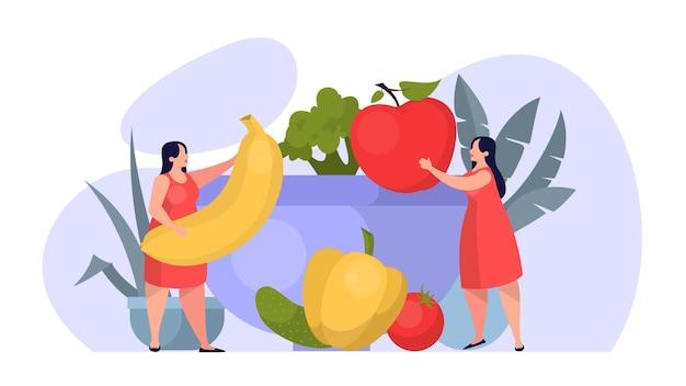 Koncepcja zdrowej żywności. idea ekologicznego menu dietetycznego i naturalnego odżywiania. świeży składnik. pielęgnacja ciała i zdrowie, utrata wagi. ilustracja