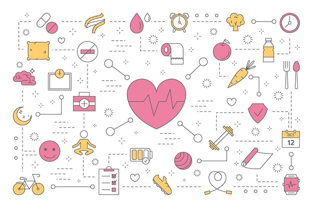 Koncepcja zdrowia. idea leczenia i zdrowego stylu życia. konsultacja lekarska i świeże jedzenie, wykonywanie ćwiczeń fitness. zestaw kolorowych ikon linii. ilustracja