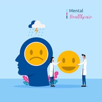 Koncepcja zdrowia psychicznego. lekarze specjaliści dają leczenie ilustracji wektorowych pacjenta.