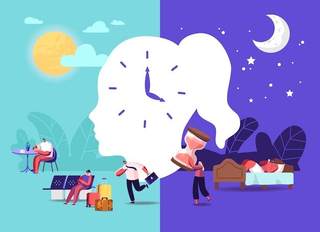 Koncepcja zegara biologicznego. postacie męskie i żeńskie śledzą rytm swojego ciała, bezsenność, podróżnik na lotnisku, spóźniony mężczyzna w pracy. zdrowy sen, nocny sen. ilustracja wektorowa kreskówka ludzie