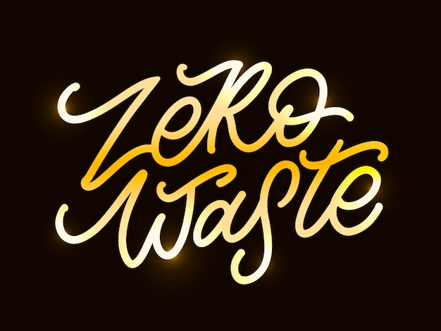 Koncepcja zero odpadów odręczny tekst tytuł znak. ilustracja wektorowa.