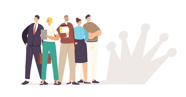 Koncepcja zespołu biznesowego. odnoszący sukcesy menedżerowie lub postacie biznesmenów stoją w pewnych pozach, trzymając papierowe dokumenty z cieniem korony na ścianie, praca korporacyjna. ilustracja wektorowa kreskówka ludzie