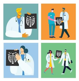 Koncepcja zespołu medycznego w postaci osób płaska w stylu płaski