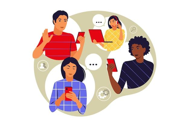 Koncepcja zespołu zdalnego. zespół rozmawia spotkanie online. koncepcja wideokonferencji i komunikacji internetowej. ilustracja wektorowa. mieszkanie.