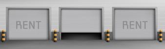 Koncepcja zewnętrzna z garażami do wynajęcia, pomieszczenia do przechowywania samochodów.