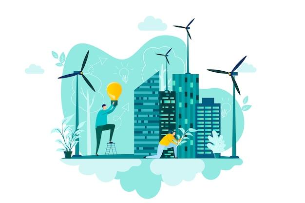 Koncepcja zielonego miasta w stylu z postaciami ludzi w sytuacji