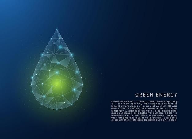 Koncepcja zielonej energii wielokątna ilustracja szkieletowa z liniami i kropkami