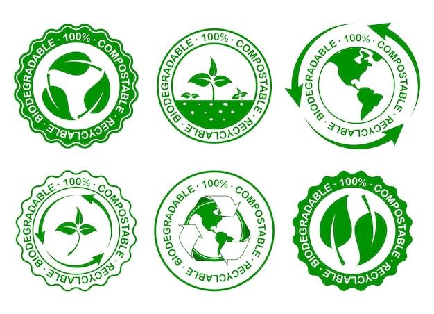 Koncepcja zielonej torby lub biodegradowalne ponowne użycie plastiku zmniejsza i nadaje się do recyklingu wektor eps