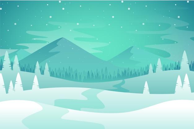 Koncepcja zimowy krajobraz w płaskiej konstrukcji