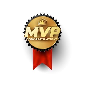 Koncepcja złotej odznaki mvp most valuable player z koroną mistrza nad luksusową złotą frazą mvp. koncepcja logo odznaka sport lub cybersport. 1. lider gry