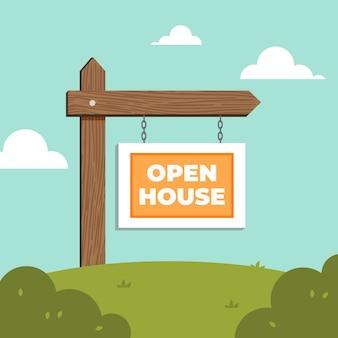Koncepcja znak otwarty dom